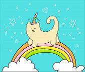 Magical Cat On Rainbow And Two White Clouds Vector Cartoon Fun Illustration. Unicorn Cat With Horn A poster