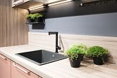 Kitchen Interior, Modern Kitchen With A Luxury Black Mixer, Breakfast Concept, Kitchen Background, C poster