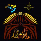 The Virgin Mary, Newborn Jesus And Joseph In The Barn, Angel And Star Above The Roof poster