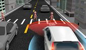 Emergency Braking Assist (eba) Sysyem To Avoid Car Crash Concept. Smart Car Technology, 3d Rendering poster