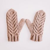 Warm Knitted Mittens Isolated On White Background.  Christmas  New Year Minimal Festive Holiday Comp poster
