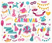 Hand Drawn Carnival Objects Set Isolated On White Background. Masqeurade Design Elements Collection. poster