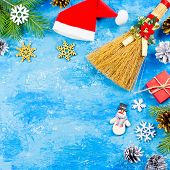 Blue Christmas Background With Fir Branches, Red Giftboxes, Silver And Golden Decorations, Copy Spac poster