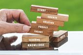 Study And Education Concept : Student Hand Placing Wooden Blocks Tower For Letter E.g Learning, Stud poster