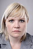 image of average looking  - Young blonde woman poses for fine art portrait - JPG