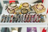 Stylish Leather Bracelets In The Shop. Many Various Leather And Textile Bracelets. Leather Multi-col poster