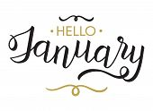 Hello, January - Typography, Hand Lettering Calligraphy For Calendar, Note Books, Diary, Greeting Ca poster