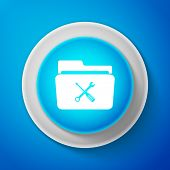 White Folder And Tools Or Settings Icon Isolated On Blue Background. Folder With Wrench And Screwdri poster