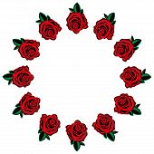Rose Icon. Vector Illustration Of A Set Red Roses. Hand Drawn Red Roses Lined Around For A Greeting  poster
