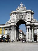 The famous Triumph Arch of Augusta Street in Lisbon, Portugal