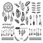 Boho Art. Tribal Arrow Feather, Bohemian Floral Border And Hippie Fashion Frame Vector Elements Set poster