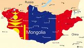 stock photo of bator  - Vector map of Mongolia country colored by national flag - JPG