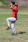 Baseball player ready to pitch