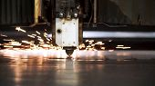 Cutting Of Metal. Sparks Fly From Laser. Clip. Laser Cutting Machine Technology. Industrial Laser Cu poster