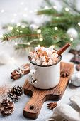 Christmas Hot Chocolate In Mug. Hot Chocolate With Spices And Marshmallows poster