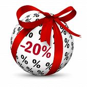 Discount -20% - Sphere With Red 3d Bow And Minus 20 (twenty) Percent Texture. Advertising Sign For M poster