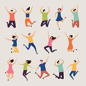 Jumping People. Young And Adult Laughing Happy Group Characters Vector Flat Illustrations. Happy Cha poster