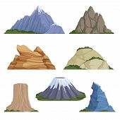 Cartoon Mountains. Snow Rockies Summer Terrain Outdoor Rock Landscape Vector Background Isolated. Il poster