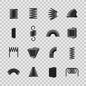 Steel Spring. Spiral Coil Flexible Steel Wire Springs Shape. Absorbing Pressure Equipment Line Icons poster