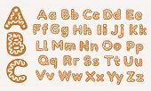 Christmas Or New Year Gingerbread Cookies Alphabet, Capital Letters And Lower Case Alphabet. Set Of  poster