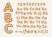 Christmas Or New Year Gingerbread Cookies Alphabet With Arabic Numbers And Signs. Set Of Isolated Al poster