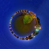 360 Panorama Of Water Gate At Canal In Sunset Time / Circle Panorama Of Gate At Canal In Sunset Time poster
