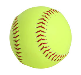 foto of softball  - softball yellow with red stitching full picture - JPG