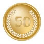image of 50th  - 50th anniversary laurel wreath on a gold medallion - JPG