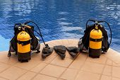 image of flipper  - aqualung and flippers near the pool - JPG