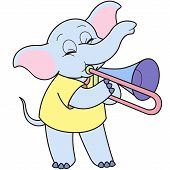 Cartoon Elephant Playing A Trombone