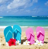 Flip Flops On Sandy Beach