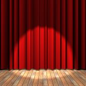 image of curtains stage  - Wooden floor stage and a red curtain in the background - JPG