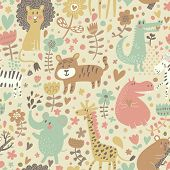 image of jungle animal  - Cute floral seamless pattern with wild animals from Africa - JPG