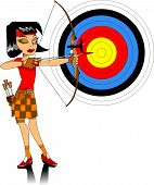 stock photo of longbow  - girl in a red T - JPG