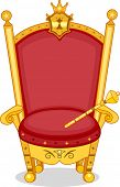 stock photo of scepter  - Illustration of Shiny Red and Gold Royal Chair with Scepter - JPG