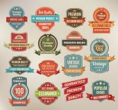 Set van retro vector label stickers en linten.