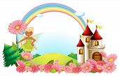 pic of pixie  - Illustration of a pixie and a castle on a white background - JPG