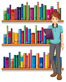 stock photo of short-story  - Illustration of a man in the library on a white background - JPG