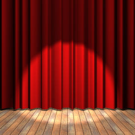 stock photo of curtains stage  - Wooden floor stage and a red curtain in the background - JPG