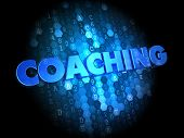 Coaching on Dark Digital Background.