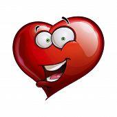 stock photo of flirtatious  - Cartoon Illustration of a Heart Face Emoticon saying Hello - JPG