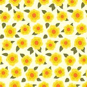 foto of daffodils  - Ditsy floral pattern with small daffodils on yellow background - JPG