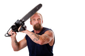 picture of man chainsaw  - Crazy Caucasian man with tattoos and chainsaw above his head with strong expression in eyes isolated - JPG