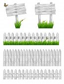 stock photo of wooden fence  - Set of white wooden signs and a fences with grass - JPG