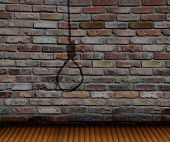 stock photo of gallows  - brick wall and shadow gallows and wood floor - JPG