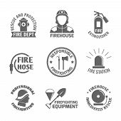 image of firehouse  - Firefighting rescue and protection fire department firehouse extinguisher label set isolated vector illustration - JPG