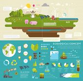 stock photo of wind-farm  - Ecology Concept Vector Icons Set for Environment - JPG