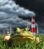 stock photo of fumes  - Environmental pollution and global warming concept with a frog sitting in front of a group of industrial smoke stacks releasing toxic fumes as a symbol for greehouse gas danger and the fragility of nature - JPG