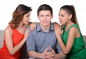 stock photo of envy  - Love triangle - JPG