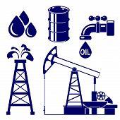 foto of derrick  - Oil industry icon  set symbol vector  illustration - JPG